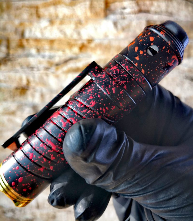 Grip with Vital RDA + HMM DRIP TIP- Black with red splatter