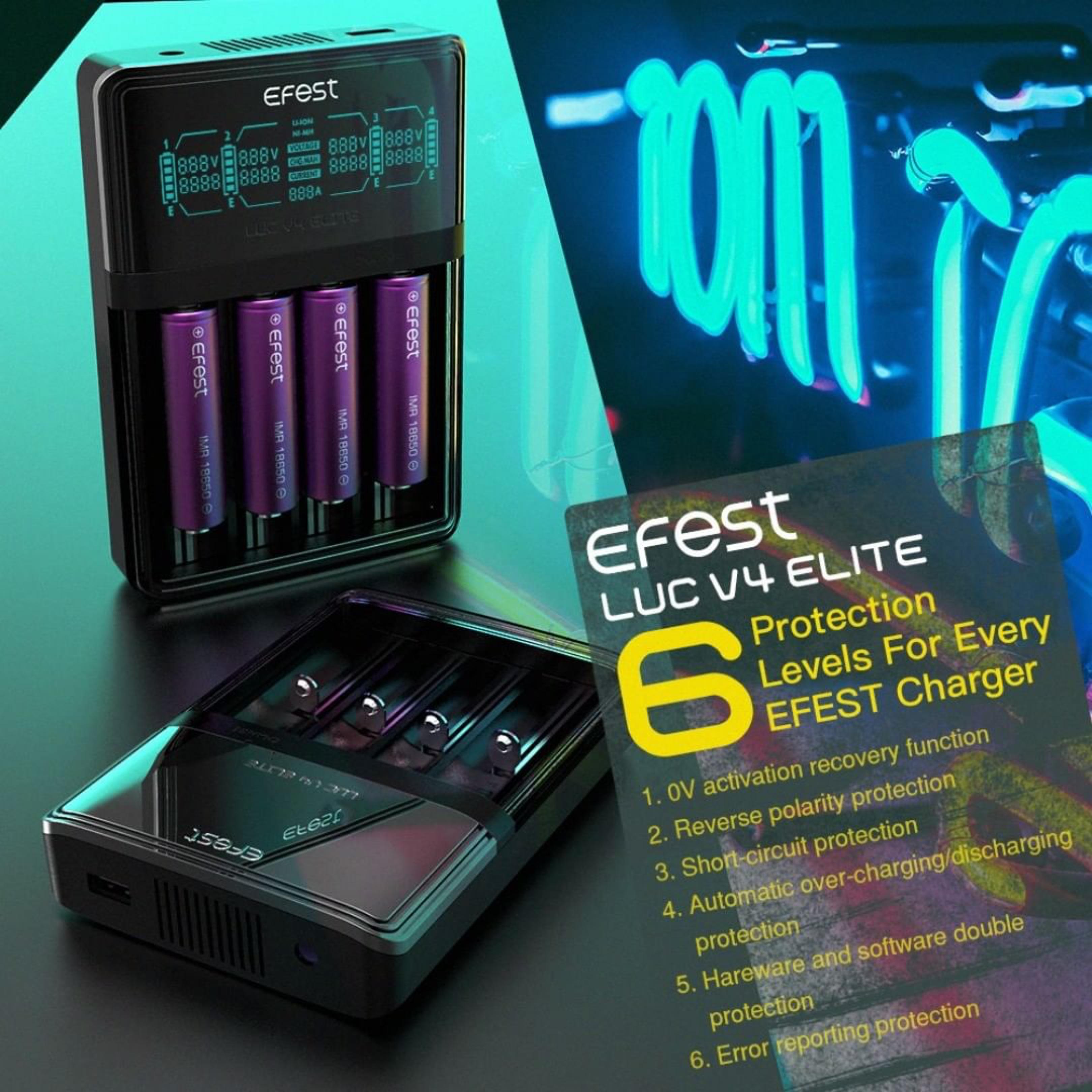 Efest - LUC V4 ELITE HD LCD Charger